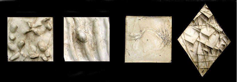 two small relief plaster sculptures on left showing soft bubbly forms and flowing deep curving lines. two small plaster relief sculptures on right showing sharp scratched lines and deep sharp angled forms.
